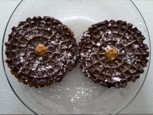 Choclate Pizzelles with Peanut Butter & Powdered Sugar